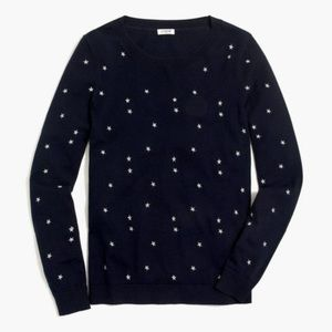 J Crew Blue & Silver Star Embroidered Sweater